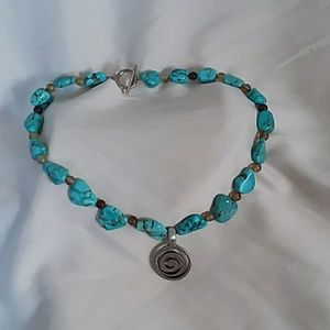 "Turquoise Necklace 17.5"" long."